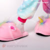 Тапки-единороги пушистые розовые открытые